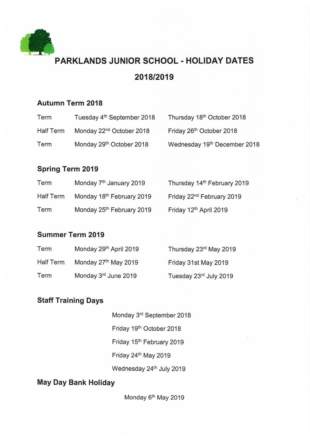 term dates parklands junior school